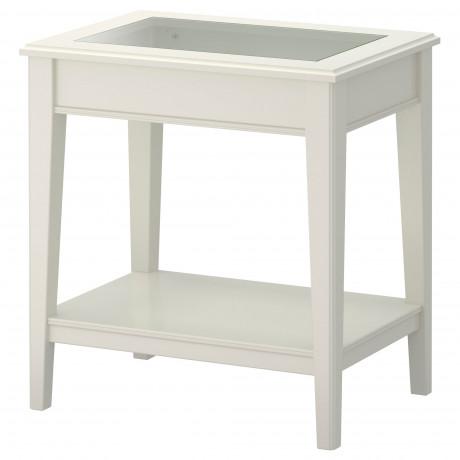 Придиванный столик ЛИАТОРП белый, стекло фото 0