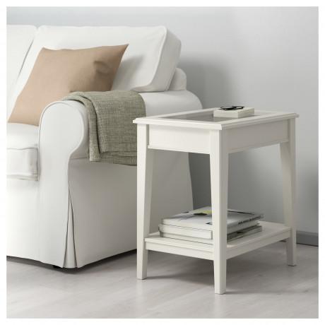 Придиванный столик ЛИАТОРП белый, стекло фото 1