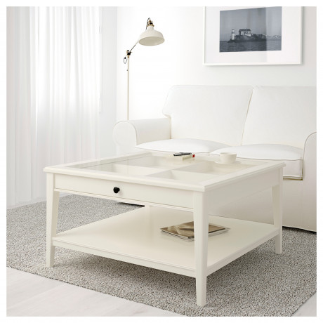 Журнальный стол ЛИАТОРП белый, стекло фото 1