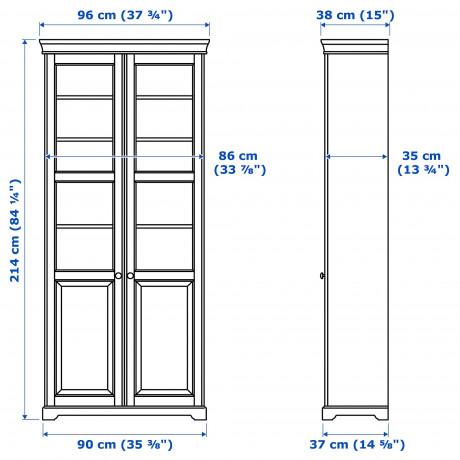 Шкаф книжный со стеклянными дверьми ЛИАТОРП темный оливково-зеленый фото 1