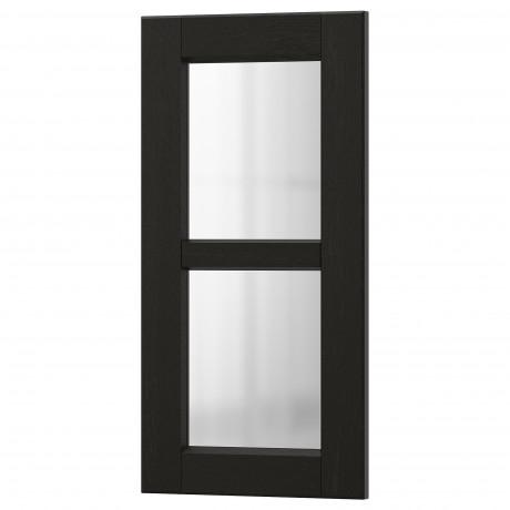Стеклянная дверь ЛЕРХЮТТАН черная морилка фото 0