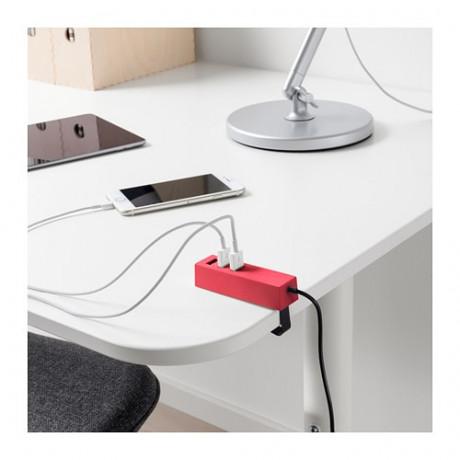 Зарядное устройство USB, с зажимом ЛЁРБИ красный фото 1