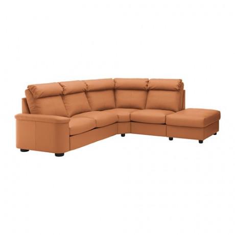 5-местный угловой диван ЛИДГУЛЬТ с открытым торцом, Гранн/Бумстад золотисто-коричневый фото 0