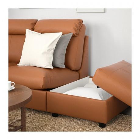 5-местный угловой диван ЛИДГУЛЬТ с открытым торцом, Гранн/Бумстад золотисто-коричневый фото 2