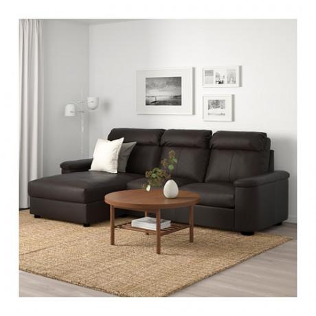 3-местный диван ЛИДГУЛЬТ с козеткой, Гранн/Бумстад темно-коричневый фото 1
