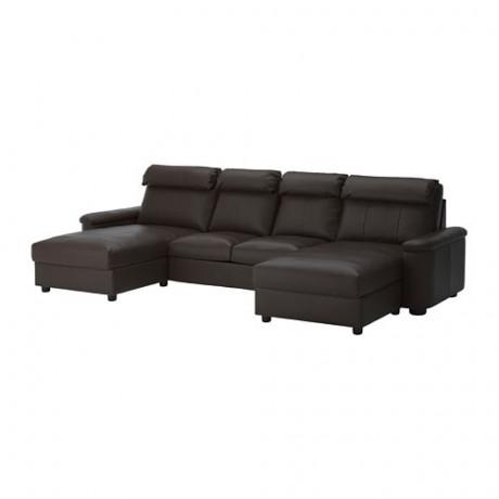 4-местный диван ЛИДГУЛЬТ с козеткой, Гранн/Бумстад темно-коричневый фото 0