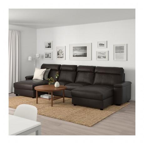 4-местный диван ЛИДГУЛЬТ с козеткой, Гранн/Бумстад темно-коричневый фото 1