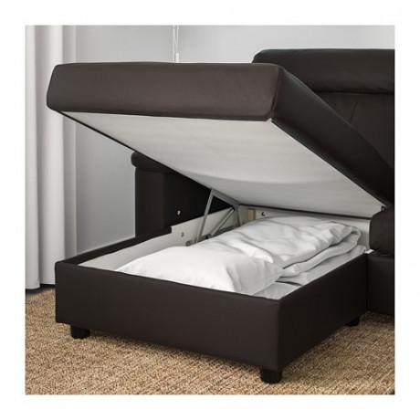 4-местный диван ЛИДГУЛЬТ с козеткой, Гранн/Бумстад темно-коричневый фото 2