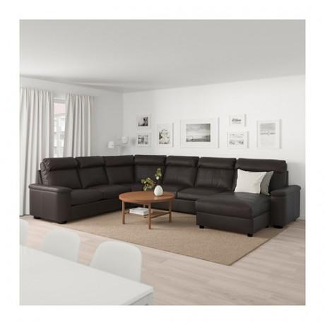 Угловой диван-кровать, 6-местный ЛИДГУЛЬТ с козеткой, Гранн/Бумстад темно-коричневый фото 1