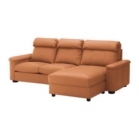 3-местный диван-кровать ЛИДГУЛЬТ с козеткой, Гранн/Бумстад золотисто-коричневый фото 0