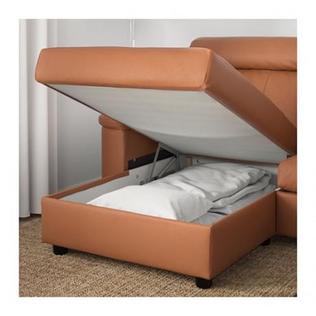 3-местный диван-кровать ЛИДГУЛЬТ с козеткой, Гранн/Бумстад золотисто-коричневый фото 2