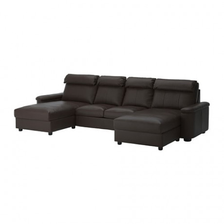 4-местный диван ЛИДГУЛЬТ с козеткой, Гранн/Бумстад темно-коричневый фото 3