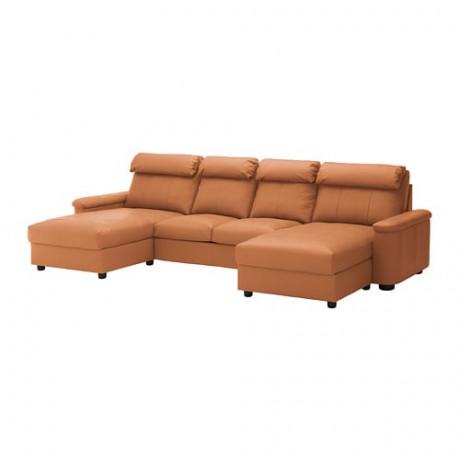 4-местный диван ЛИДГУЛЬТ с козеткой, Гранн/Бумстад темно-коричневый фото 4
