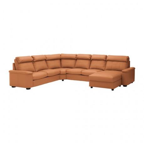 Угловой диван-кровать, 6-местный ЛИДГУЛЬТ с козеткой, Гранн/Бумстад темно-коричневый фото 4
